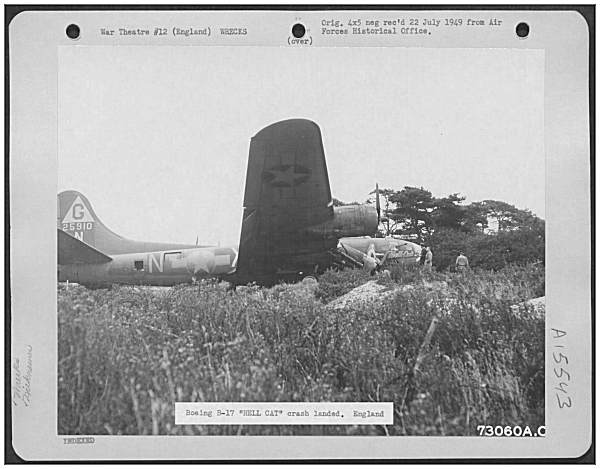 B-17F-35-VE - 'HELL CAT' 42-5910 - at crash location, Hawkinge, UK