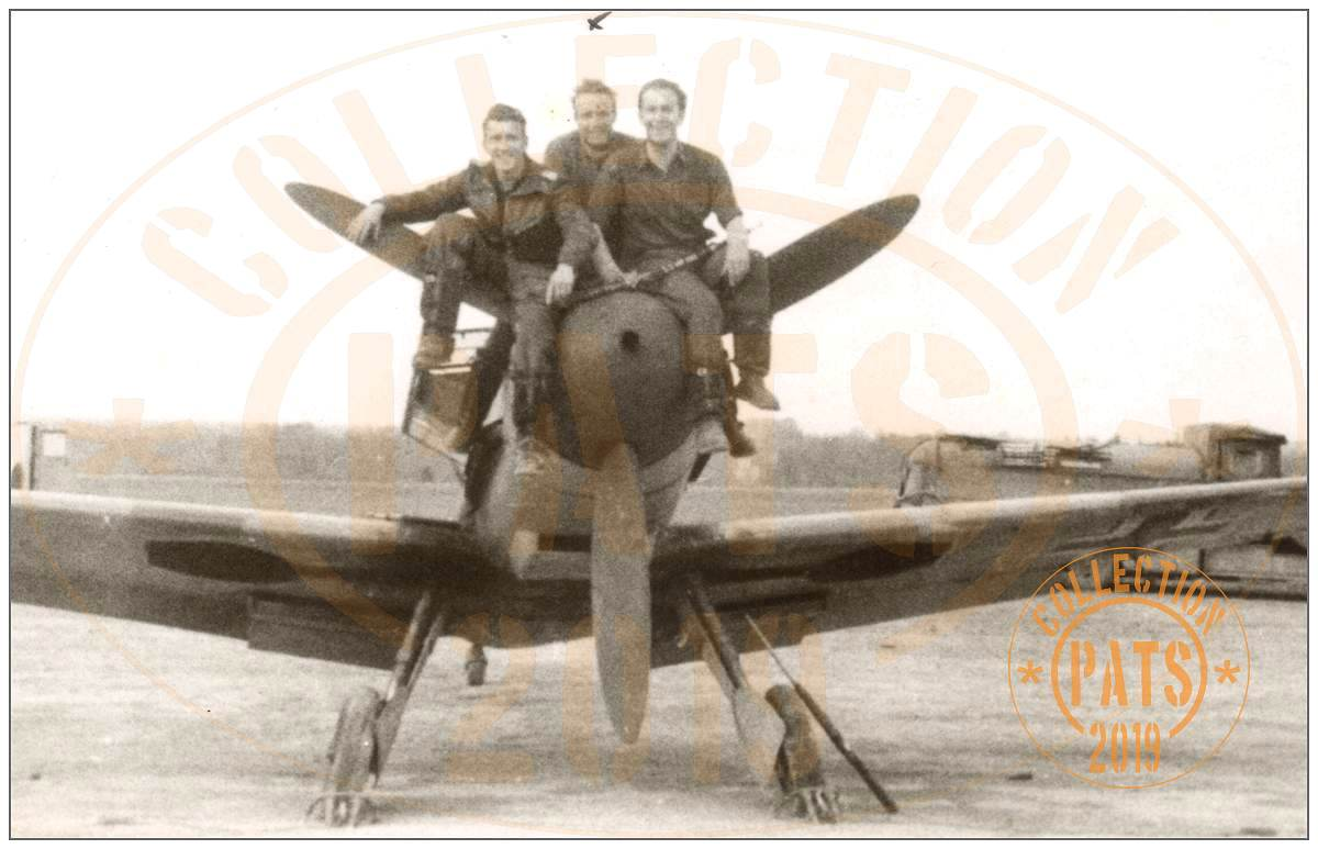 Heinz Klöpper (middle) with two others posing on a Messerschmitt - ~194x