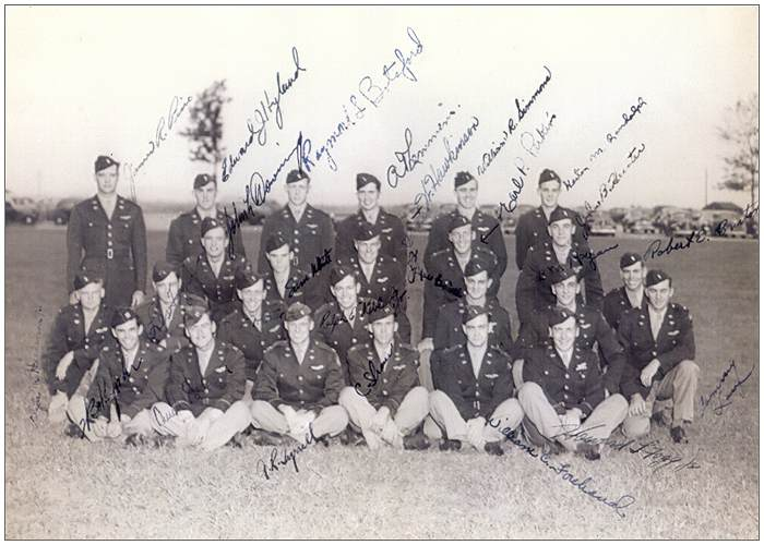 Signed squadron photo with Lt. Edward J. Hyland, Lt. Robert E. Burton and others