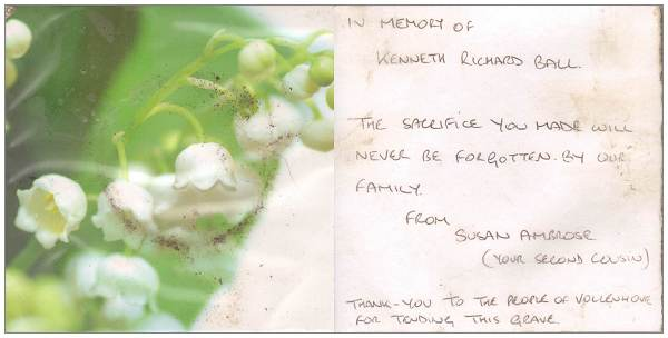 In memory of Kenneth Richard Ball .... by Susan Ambrose née Dunderdale (2nd cousin) - 11 Oct 2016