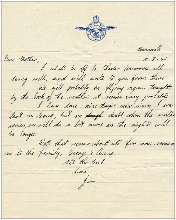 Letter from Jim to his mother - Hemswell, 10 Aug 1940