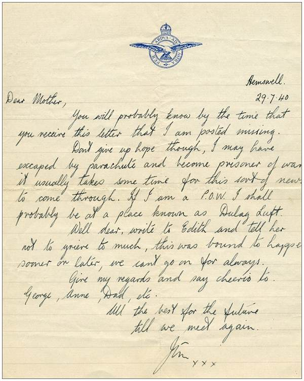 Letter from Jim to his mother - Hemswell, 29 Jul 1940
