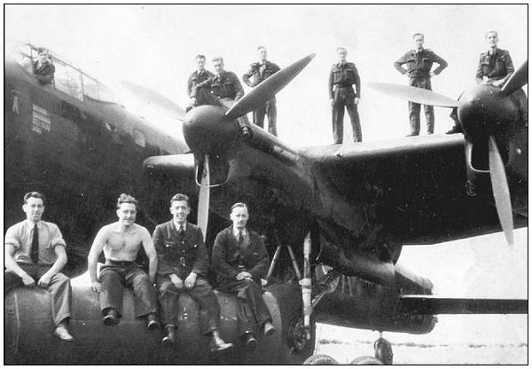 Sgt. John Johnstone Sloan - 3rd Right - on wing - likely 1943