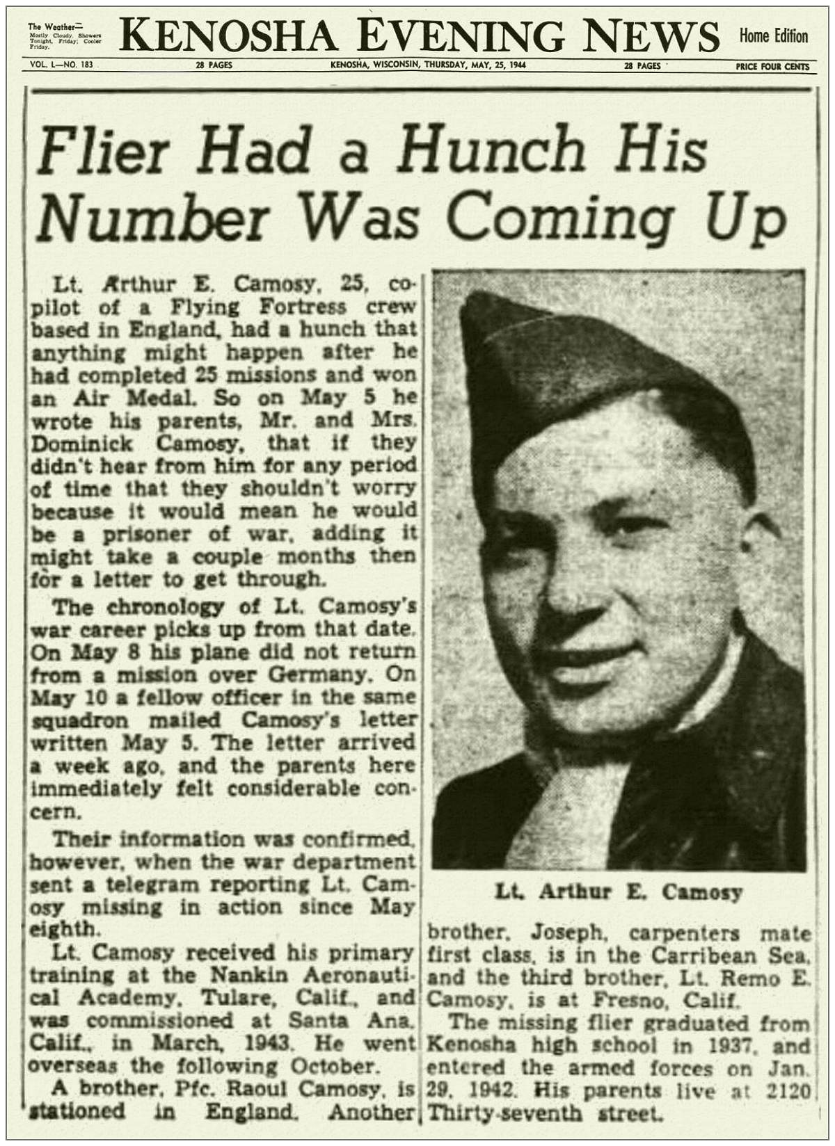 O-736986 - Lt. Arthur E. Camosy - Kenosha Evening News - 25 May 1944