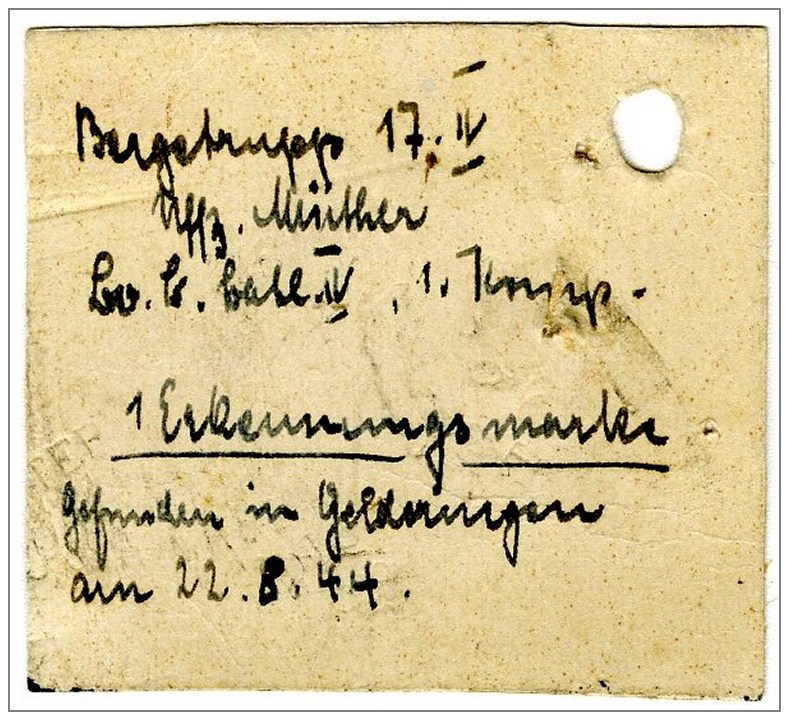 22 Aug 1944 - Zyb - 'Dog Tag' found - via KU 2775