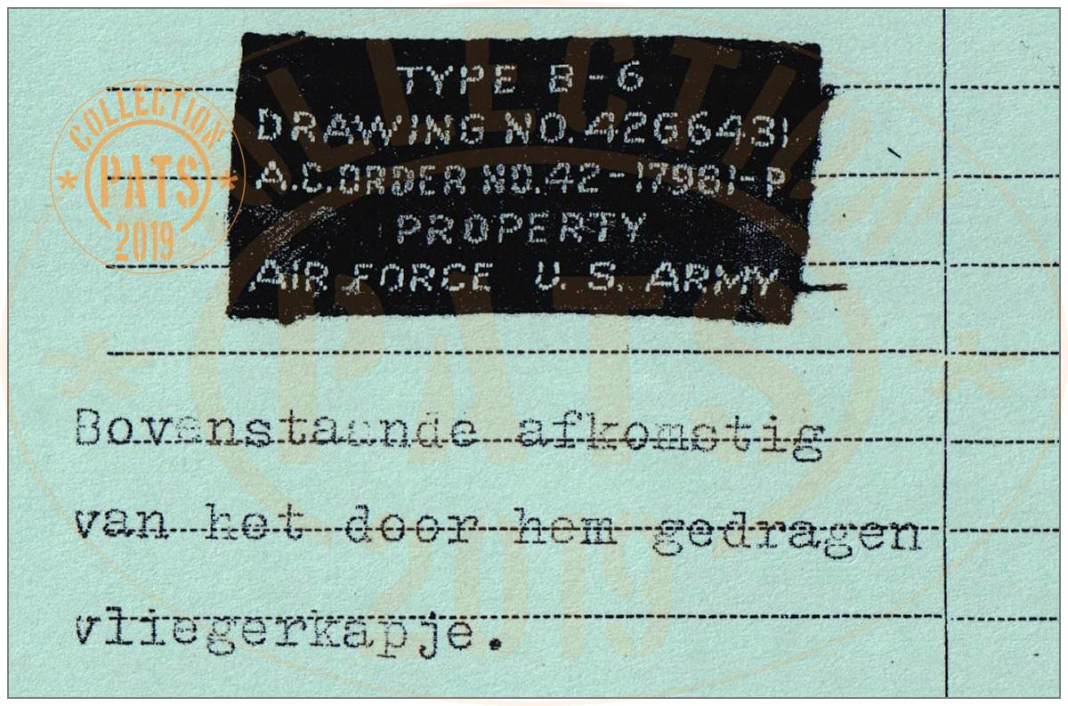 Label of Flier cap of 2nd Lt. John Jay Lyons
