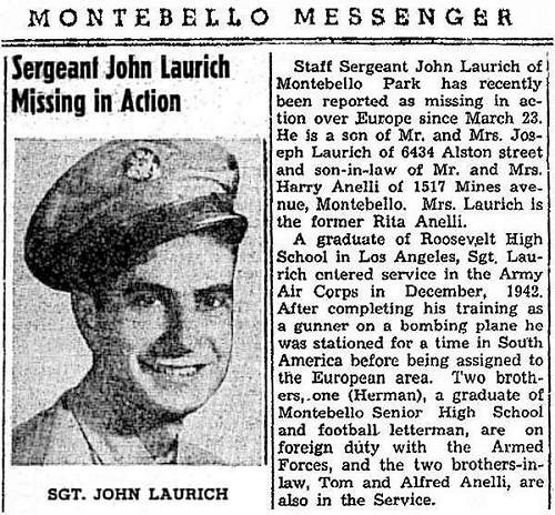 reformatted Newsclip - S/Sgt. John J. Laurich - Montebello Messenger - 12 Apr 1944
