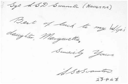 Wishes to Harry Lewis daughter Margaretta - 23 Sep 1943