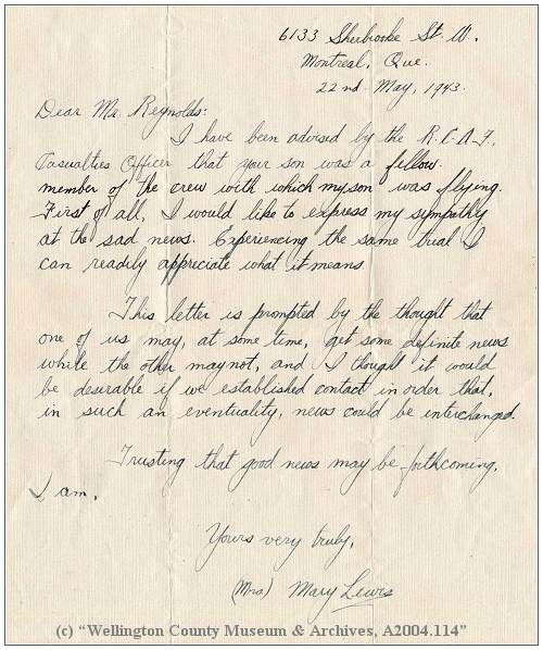 Letter Mrs. Mary Lewis to Mr. G. E. Reynolds - 22 May 1943