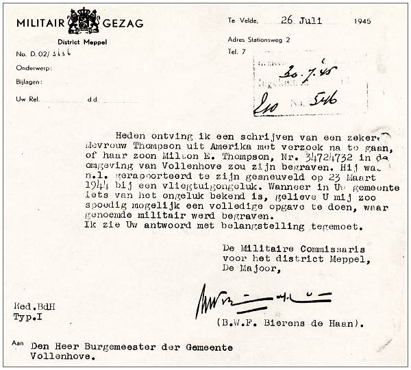 Letter of Militair Gezag to Mayor of Vollenhove - 26 Jul 1945