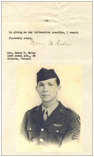 28 Aug 1945 - Letter of Mrs. Nancy B. Eaton - inset photo: Sgt. James Robert Eaton Jr.