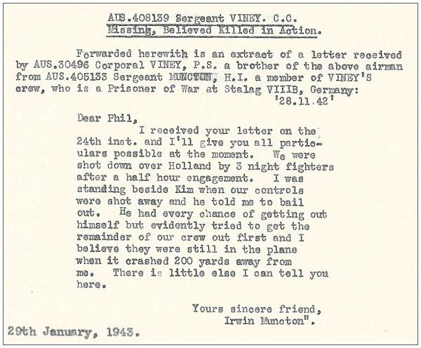 Extract - Letter to Philip Sydney Viney from Irwin Munckton