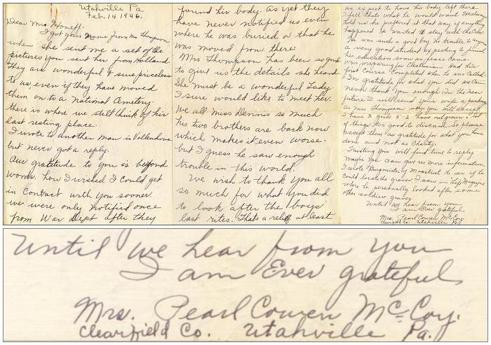 14 Feb 1946 - Letter of Mrs. Pearl Cowen McCoy to Rev. Honnef