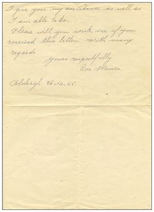 Letter of Cor Meurs to family Jeffries - 26 Oct 1945