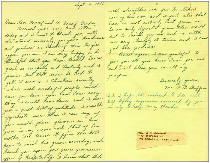 02 Sep 1945 - Letter of Mrs. Don G. Griffin to Rev. Honnef and Mrs. A. Honnef - Bender