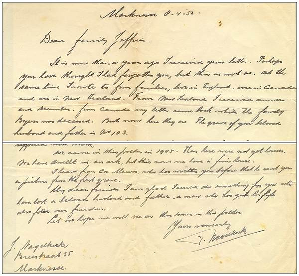 Intro - end - Letter of J. Nagelkerke to family Jeffries - 8 Apr 1950