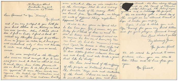 27 Dec 1945 - Letter of Mrs. Gordon Russell Sr. to Rev. Honnef and Mrs. Honnef