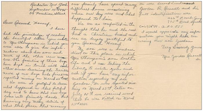 14 Sep 1945 - Letter of Mrs. Gordon Russell Sr. to Rev. Honnef