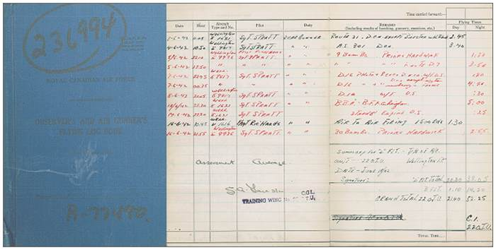 Logbook - R/77490 - Flight Sergeant - Rear Air Gunner - Ian Reay Watson - RCAF