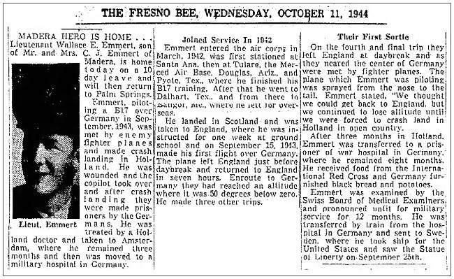 The Fresno Bee - 11 Oct 1944 - MADERA HERO IS HOME ... Lt. Wallace E. Emmert