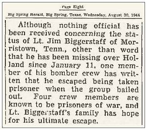 Lt. Jim Biggerstaff - newsclip - page 8 -  Big Spring Daily Herald - Wednesday, August 30, 1944