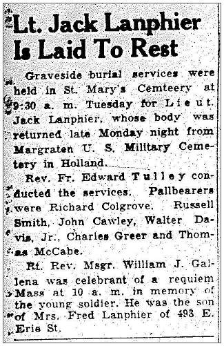 Lt. Lanphier - Laid to rest - Tuesday 22 Feb 1949 - newsclip 24 Feb 1944, PT