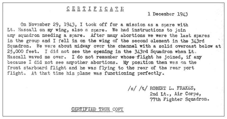 Statement of 2nd Lt. Robert L. Frakes - 1 Dec 1943