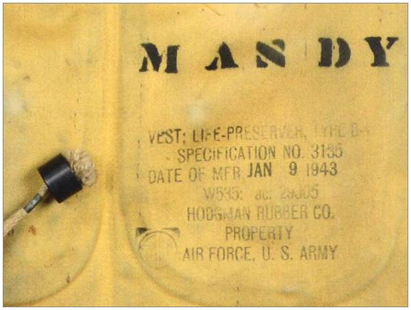 'MANDY' - Life Preserver Vest - found near Ronduite/Boswiede