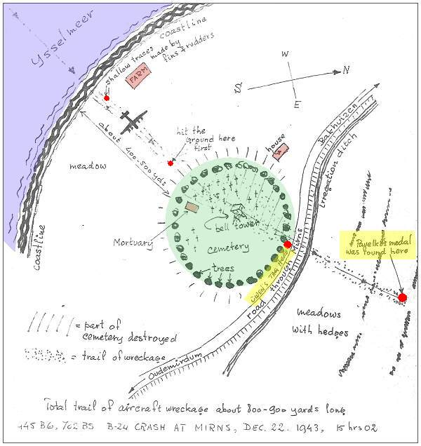 Map of crash location - original sketch by Jan J. van der Veer - 1983