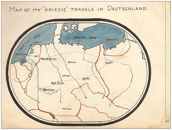 MAP OF MY 'KRIEGIE' TRAVELS IN DEUTSCHLAND - drawn by Sgt. Walter Petch - POW Logbook page 3