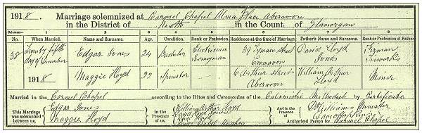 25 Dec 1918 - Edgar Jones and Maggie Lloyd - copy marriage certificate