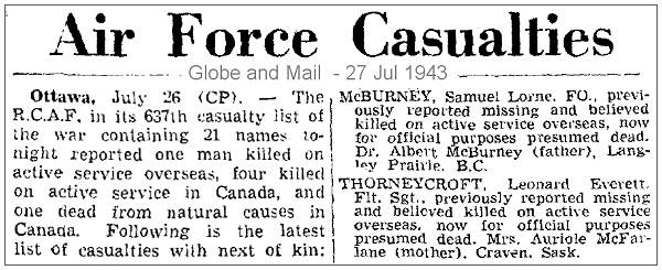 R.C.A.F. - 637th casuality list - Globe and Mail - 27 Jul 1942