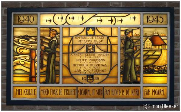 Stained Glass Memorial Window in town hall of IJlst - nowadays in new town hall of municipality Wymbritseradiel