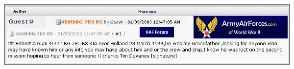 Message AAF Forum - 09 Jan 2003 - by Tim Devaney as Guest ( no address)