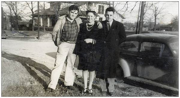 Milton E. Thompson with Mrs. Vennie Stewart and William 'Bill' Becton