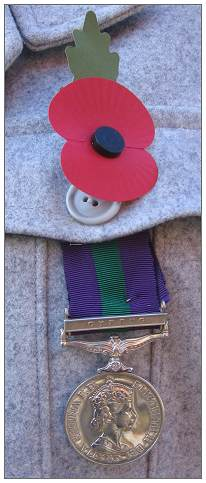 Colin Richard Moggridge - GSM Medal + Poppy - 11 Nov 2012 - General Service Medal - Cyprus clasp - 1963-1964