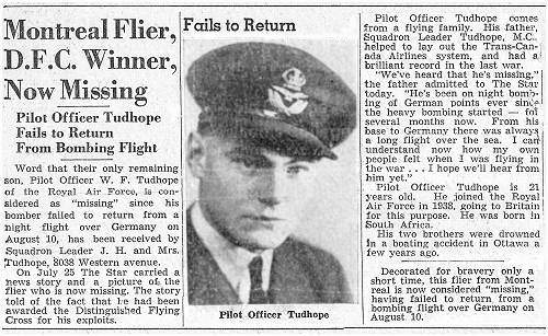 P/O. - Pilot - William Frank Tudhope - Montreal Star - missing