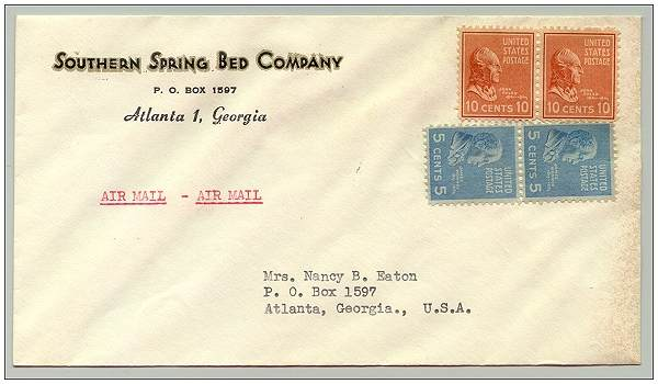 Stamped self-addressed envelope to Mrs. Nancy B. Eaton