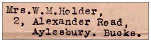 Address - Mrs. W. M. Holder