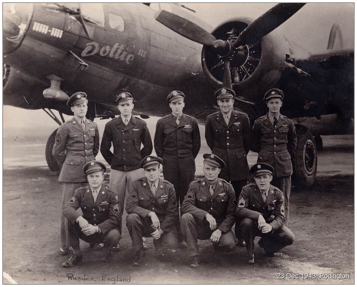 23 Dec 1943 - Crew with S/Sgt. Mullins in front of B-17F 'Dottie III' at Rushden, England
