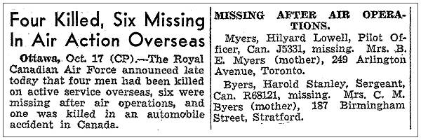 Ottawa: 17 Oct 1941 - Myers and Byers missing