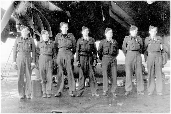 Crew with Halifax bomber at Burn, Yorkshire
