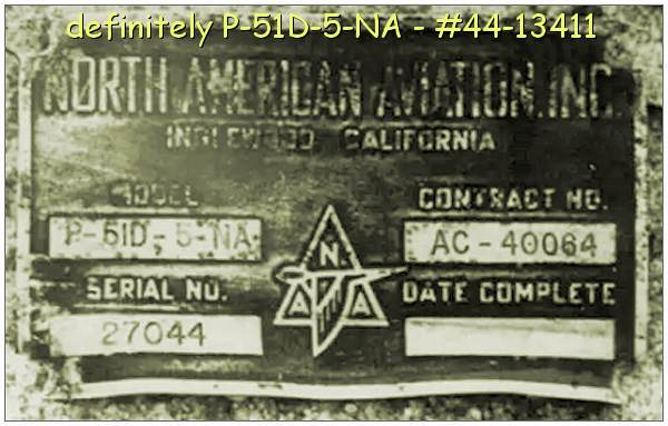 Mustang P-51D-5-NA - ID plate - Serial No. 27044