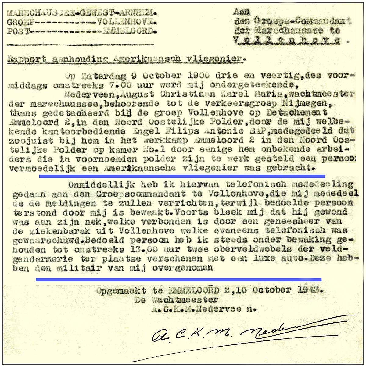 Snippets from police report - Nederveen, Emmeloord 2 - 10 Oct 1943