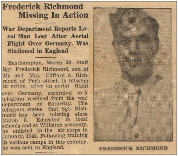 Newsclip - S/Sgt. Frederick V. Richmond - Missing in Action