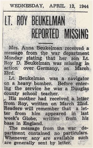 Newspaper clip - 12 April 1944 - Lt. Roy Beukelman reported missing