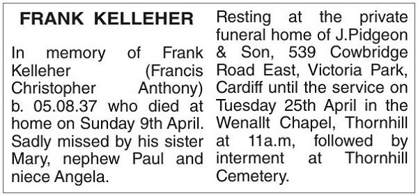 Obituary - Francis 'Frank' Christopher Anthony Kelleher