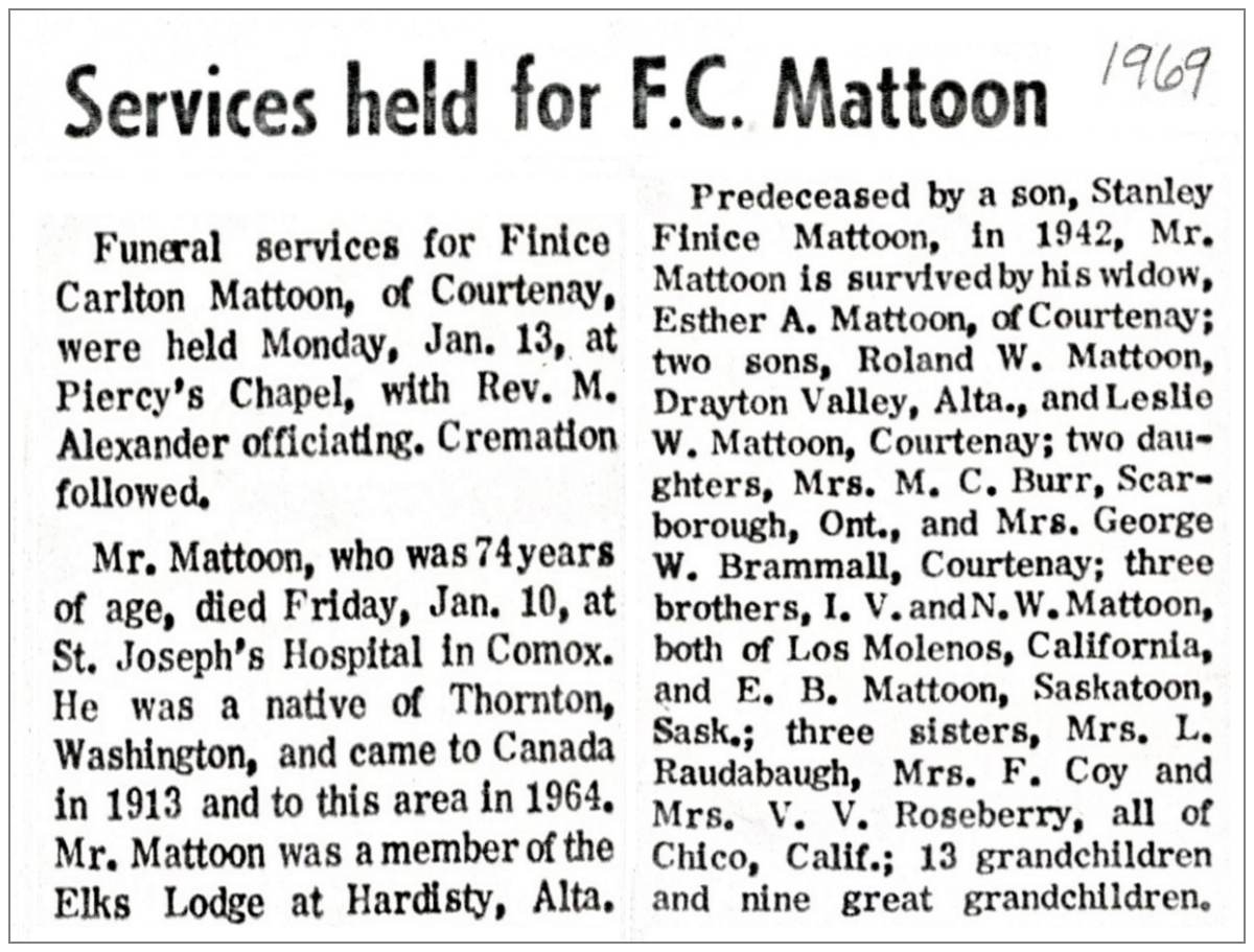 Obituary - 1969 - Finice Carlton Mattoon - Age 74