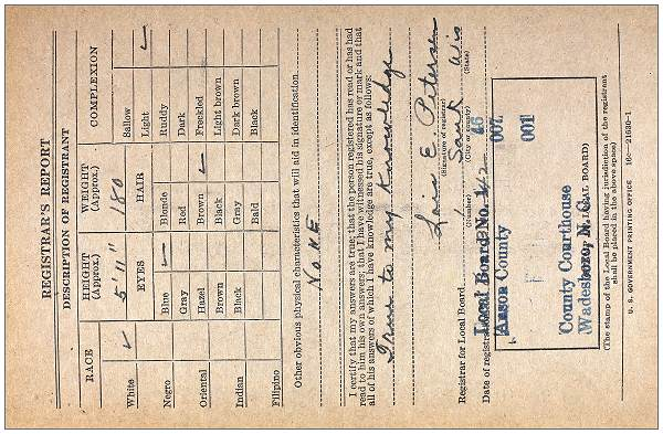 Everett Morrison Odom - Registration Card - Draft WWII