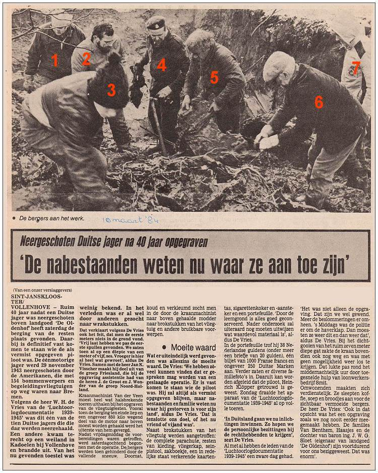 Newspaper clip - Salvage at 'De Oldenhof' - Saturday 10 Mar 1984